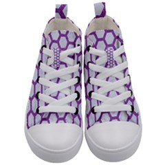 Hexagon2 White Marble & Purple Denim (r) Kid s Mid Top Canvas Sneakers