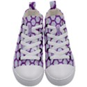HEXAGON2 WHITE MARBLE & PURPLE DENIM (R) Kid s Mid-Top Canvas Sneakers View1