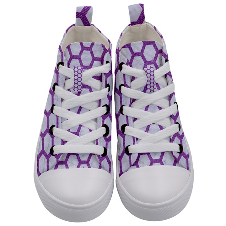 HEXAGON2 WHITE MARBLE & PURPLE DENIM (R) Kid s Mid-Top Canvas Sneakers