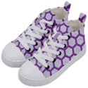 HEXAGON2 WHITE MARBLE & PURPLE DENIM (R) Kid s Mid-Top Canvas Sneakers View2
