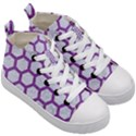 HEXAGON2 WHITE MARBLE & PURPLE DENIM (R) Kid s Mid-Top Canvas Sneakers View3
