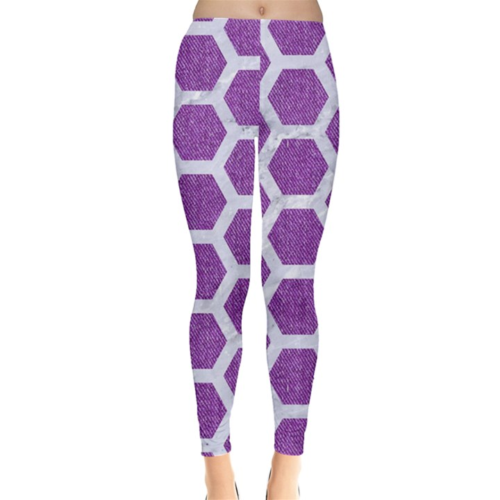 HEXAGON2 WHITE MARBLE & PURPLE DENIM Leggings