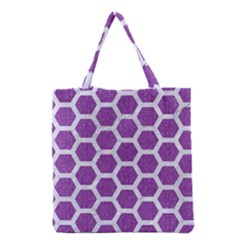 HEXAGON2 WHITE MARBLE & PURPLE DENIM Grocery Tote Bag