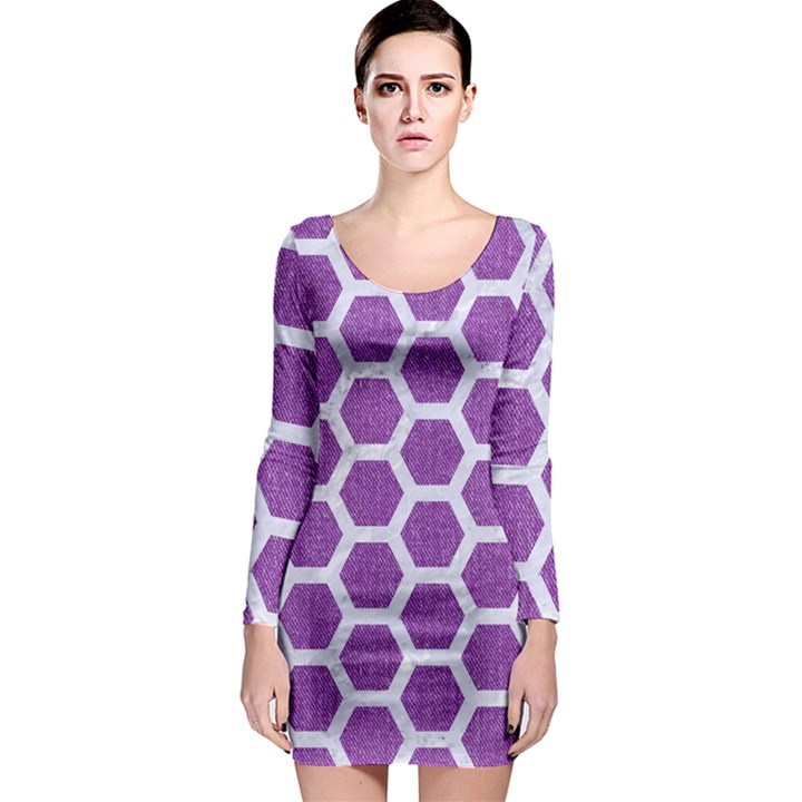 HEXAGON2 WHITE MARBLE & PURPLE DENIM Long Sleeve Bodycon Dress