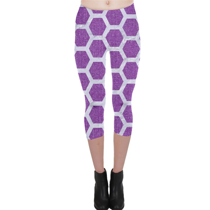 HEXAGON2 WHITE MARBLE & PURPLE DENIM Capri Leggings