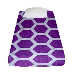 HEXAGON2 WHITE MARBLE & PURPLE DENIM Fitted Sheet (Single Size)