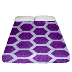 HEXAGON2 WHITE MARBLE & PURPLE DENIM Fitted Sheet (King Size)