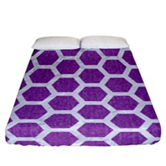 HEXAGON2 WHITE MARBLE & PURPLE DENIM Fitted Sheet (California King Size)