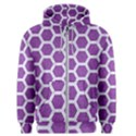 HEXAGON2 WHITE MARBLE & PURPLE DENIM Men s Zipper Hoodie View1