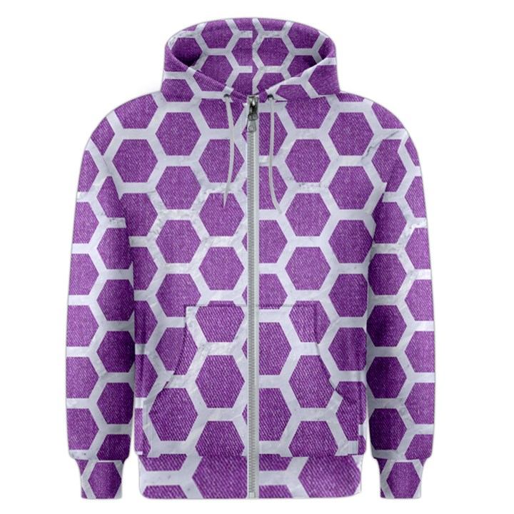 HEXAGON2 WHITE MARBLE & PURPLE DENIM Men s Zipper Hoodie