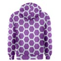 HEXAGON2 WHITE MARBLE & PURPLE DENIM Men s Zipper Hoodie View2