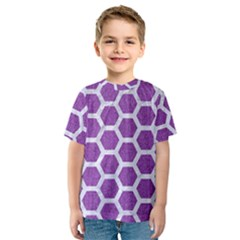 Hexagon2 White Marble & Purple Denim Kids  Sport Mesh Tee