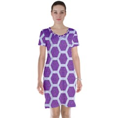 Hexagon2 White Marble & Purple Denim Short Sleeve Nightdress