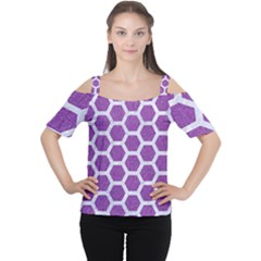 Hexagon2 White Marble & Purple Denim Cutout Shoulder Tee by trendistuff