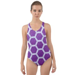 HEXAGON2 WHITE MARBLE & PURPLE DENIM Cut-Out Back One Piece Swimsuit