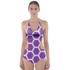 HEXAGON2 WHITE MARBLE & PURPLE DENIM Cut-Out One Piece Swimsuit
