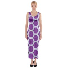 HEXAGON2 WHITE MARBLE & PURPLE DENIM Fitted Maxi Dress