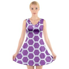 Hexagon2 White Marble & Purple Denim V Neck Sleeveless Dress