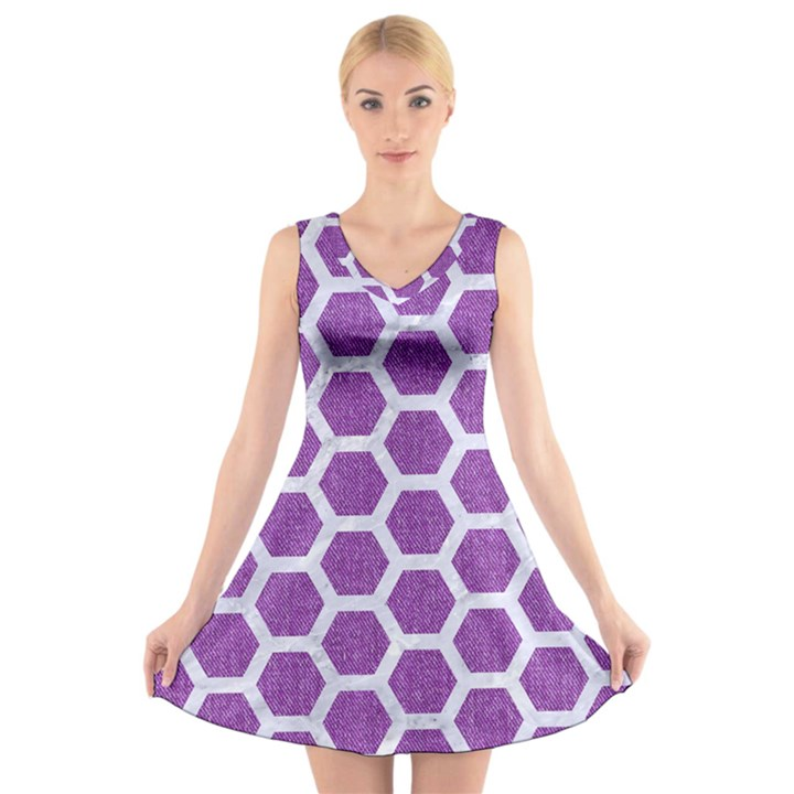 HEXAGON2 WHITE MARBLE & PURPLE DENIM V-Neck Sleeveless Dress