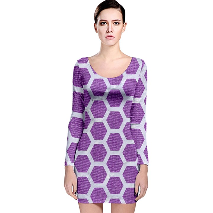 HEXAGON2 WHITE MARBLE & PURPLE DENIM Long Sleeve Velvet Bodycon Dress