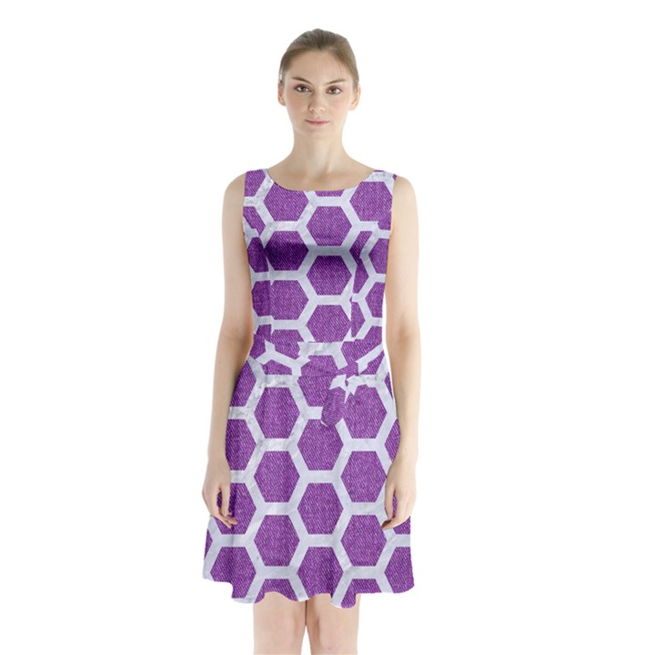 HEXAGON2 WHITE MARBLE & PURPLE DENIM Sleeveless Waist Tie Chiffon Dress