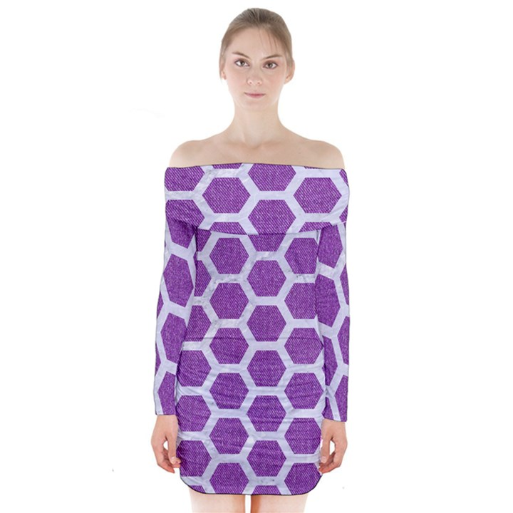 HEXAGON2 WHITE MARBLE & PURPLE DENIM Long Sleeve Off Shoulder Dress