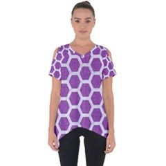 HEXAGON2 WHITE MARBLE & PURPLE DENIM Cut Out Side Drop Tee