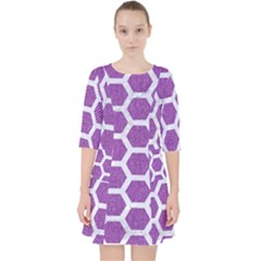 Hexagon2 White Marble & Purple Denim Pocket Dress