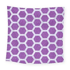 HEXAGON2 WHITE MARBLE & PURPLE DENIM Square Tapestry (Large)