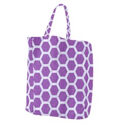 HEXAGON2 WHITE MARBLE & PURPLE DENIM Giant Grocery Zipper Tote