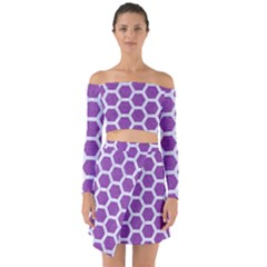 HEXAGON2 WHITE MARBLE & PURPLE DENIM Off Shoulder Top with Skirt Set