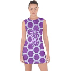 Hexagon2 White Marble & Purple Denim Lace Up Front Bodycon Dress