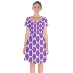 Hexagon2 White Marble & Purple Denim Short Sleeve Bardot Dress