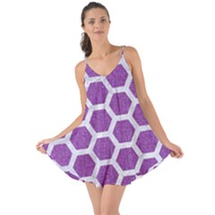 HEXAGON2 WHITE MARBLE & PURPLE DENIM Love the Sun Cover Up
