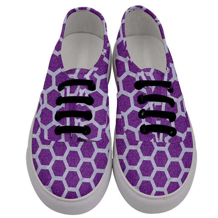 HEXAGON2 WHITE MARBLE & PURPLE DENIM Men s Classic Low Top Sneakers