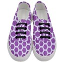 HEXAGON2 WHITE MARBLE & PURPLE DENIM Women s Classic Low Top Sneakers View1