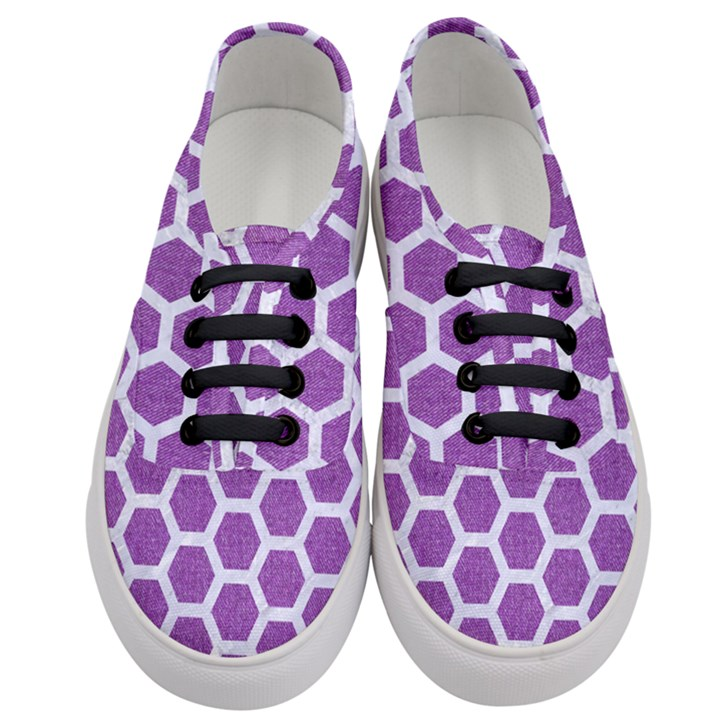 HEXAGON2 WHITE MARBLE & PURPLE DENIM Women s Classic Low Top Sneakers