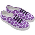 HEXAGON2 WHITE MARBLE & PURPLE DENIM Women s Classic Low Top Sneakers View3