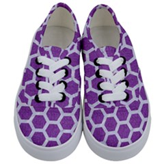 Hexagon2 White Marble & Purple Denim Kids  Classic Low Top Sneakers