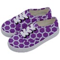 HEXAGON2 WHITE MARBLE & PURPLE DENIM Kids  Classic Low Top Sneakers View2