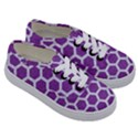HEXAGON2 WHITE MARBLE & PURPLE DENIM Kids  Classic Low Top Sneakers View3