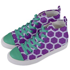 HEXAGON2 WHITE MARBLE & PURPLE DENIM Women s Mid-Top Canvas Sneakers