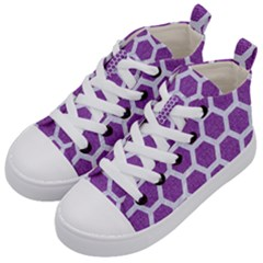 HEXAGON2 WHITE MARBLE & PURPLE DENIM Kid s Mid-Top Canvas Sneakers
