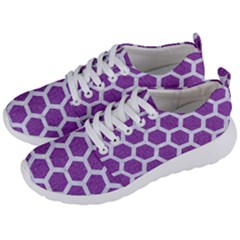 Hexagon2 White Marble & Purple Denim Men s Lightweight Sports Shoes by trendistuff