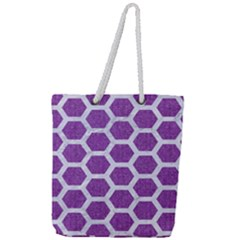 HEXAGON2 WHITE MARBLE & PURPLE DENIM Full Print Rope Handle Tote (Large)