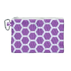 Hexagon2 White Marble & Purple Denim Canvas Cosmetic Bag (large) by trendistuff