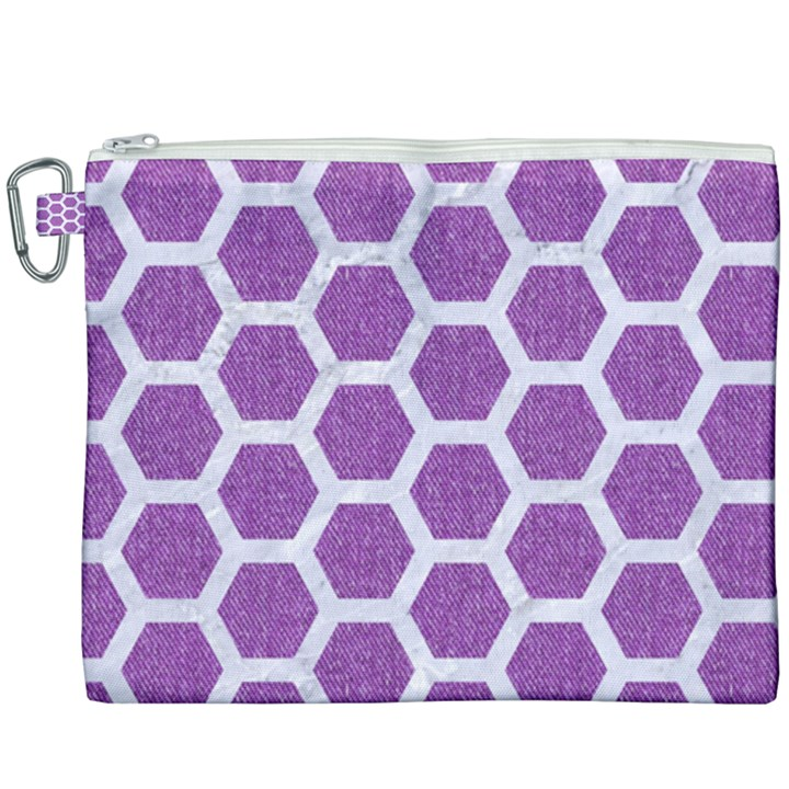 HEXAGON2 WHITE MARBLE & PURPLE DENIM Canvas Cosmetic Bag (XXXL)