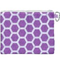 HEXAGON2 WHITE MARBLE & PURPLE DENIM Canvas Cosmetic Bag (XXXL) View2