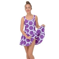 HEXAGON2 WHITE MARBLE & PURPLE DENIM Inside Out Dress