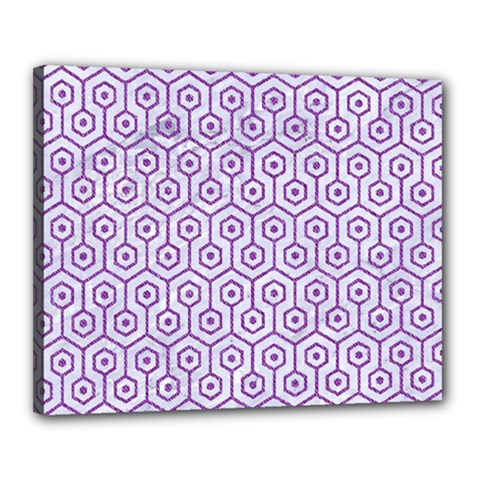 Hexagon1 White Marble & Purple Denim (r) Canvas 20  X 16